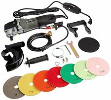 "Variable Speed Polisher 5"" Concrete and Stone Wet Polishing Kit w/ Diamond Pads"