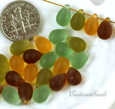 Tear Drop Beads, 9x6mm., Olive, Brown, Emerald, & Yellow, Sea Glass, 22 Pieces