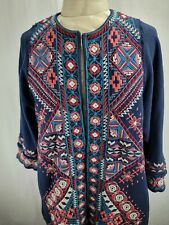 JWLA by Johnny Was S Jacket Cotton Embroidered Long Blue Southwest Colorful