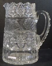 Antique American Brilliant Cut Crystal Pitcher or Tankard with Peacock