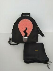 100% Authentic FENDI Light Bulb Backpack Black Nylon Shearling Mini Size