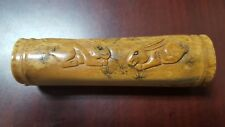 """4"""" Vintage Chinese Bone Hand Carved Long Flat Open Loose Box - Bunny Rabbit"""