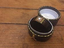 Antique Victorian 18 Carat Gold Black Enamel & Pearl Mourning Ring - Inscribed
