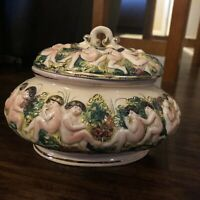 "Vintage Capodimonte Porcelain Bowl With Lid 9""x6.5"" Italy Great Condition"