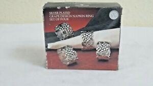 GODINGER SILVER ART  NEW YORK SET OF 4 SILVER PLATED  GRAPE DESIGN NAPKIN RINGS