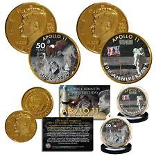 Apollo 11 Man on Moon 50th Anniversary JFK Centennial 24K Gold Clad 2-Coin Set