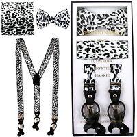 New in box Convertible Elastic Strap Suspender_Bowtie Hankie Leopard Black White