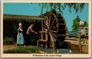 "Holland, Michigan Postcard ""Waterwheel at the Dutch Village"" Chrome 1950s Unused"