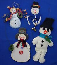 Christmas ornament lot of 4 snowmen metal Kurt Adler felt and wood