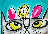 """ACEO Original """"Easter Egg Chick Cat"""" Acrylic 2.5x3.5 Painting Samantha McLean"""