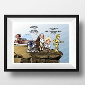 Star Wars Scum & Villainy SIGNED Cartoon Caricature Parody A4 art print