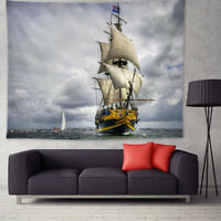 Wall Hanging Sailing Boat Tapestry Landscape Bedspread Throw Home Decor Blanket