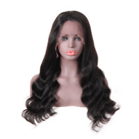 100% Brazilian Virgin Human Hair Wig Lace Frontal Wigs Body Wave Natural Black
