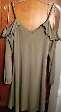 Michael Michael Kors Safari Green Cold-Shoulder Shift Dress Sz XS NWT RET $125