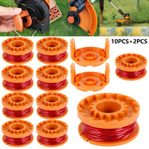 12 Pack Replacement Spool Line String Trimmer WA0010 Weed Eater W Cap For Worx🌟