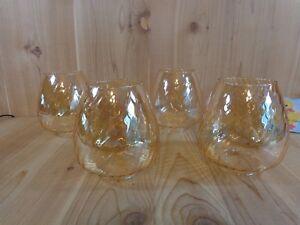 "AMBER LAMP SHADE Set of 4 Slanted Ribbed Glass Globe 6.5"""
