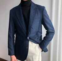 Men's Vintage Blue Tweed Suits Formal Blazer Two Button Outwear Jacket Regular