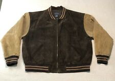 Basic Editions Genuine Suede Leather Brown & Tan Varsity Jacket Men's Size XL