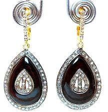 EXQUISITE ROSE CUT DIAMOND & BLACK ONYX STUDDED  GOLD SILVER DROP EARRING
