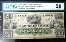 $20  STATE BANK at NEW-BRUNSWICK, New Jersey  PMG 20 VERY FINE FULLY ISSUED