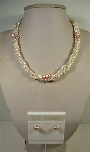 Lee Sands 3 strand White & Champagne Pink Pearl NK & ER Set