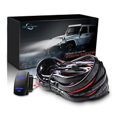 12FT 180W Wiring Harness 40A Relay Fuse Cable Blue Rocker Switch LED LIGHT BAR