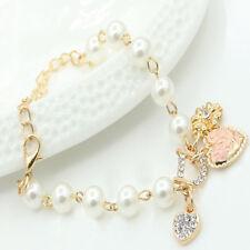 Chic Elegant Women Fashion Pearl Crystal Heart Flower Charm Bracelet Bangle Gift