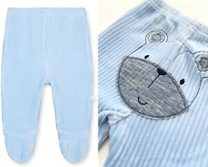 MOTHERCARE Baby Boys Bottoms Blue Soft Velour Teddy Bear Trousers With Feet NEW