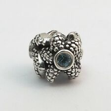 Pandora Sterling Silver Sea Star Turquoise Spinel  Retired Bead Charm 791163SST