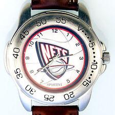 Brooklyn Nets NBA Sportivi New Unworn Mans Vintage 1997 Leather Watch! Only $89