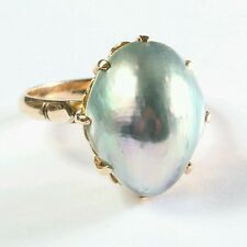 Vtg 14K Baroque Mabé Grey Pearl Cocktail ring Diamond Filigree Setting Size 6.5