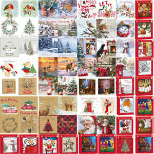 Pack Of 12 Luxury Xmas Christmas Cards & Envelopes 2 Designs per pack