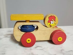 Vintage 1970s Woody Woodpecker Wooden Toy Helicopter Spinning Car