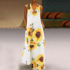 Women Sleeveless Bohemia Long Maxi Dress Summer Beach Party Sundress Plus S-5XL