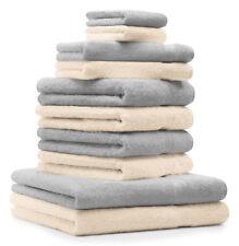 Betz lot de 10 serviettes Premium: gris argenté & beige, 100% coton