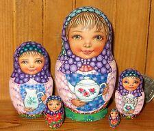 Bambole Russe / Matriosche 5 Bambine SOKIRKINA firmato Piccola OPACO & SET da tè