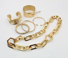 Lot Of 6 Gold-Tone Jewelry Michael Kors Tori Burch Othe 00006000 R Bracelet Necklace 10431