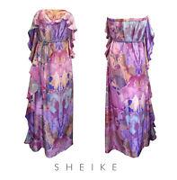 Sheike Silk strapless pink & blue oil dye print dress – Size 8