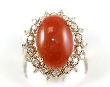 Fine Natural Oval Orange Coral Lady's Ring w/Diamond Halo 14k Rose Gold 5.97Ct