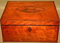 Antique Georgian Federal Satinwood Herringbone Shell Inlaid Trinket Jewelry Box