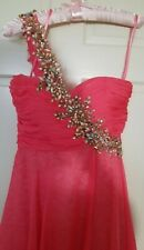 Homecoming Prom Formal Short dress Coya Collection Bright Coral Beaded S