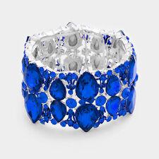 Elegant Formal Silver Royal Blue Marquise Crystal Fashion Statement Bracelet