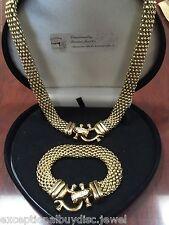 14K GOLD & STS LCS DIAMOND FLEX SOFT CUFF BANGLE BUCKLE BRACELET NECKLACE SZ  7