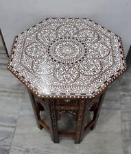 Indian Inlaid Rosewood Octagonal Table Royal Design 20 inches tall