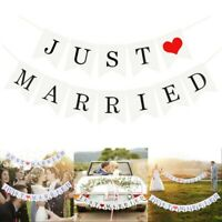 JUST MARRIED Wedding Banner Party DIY Decor Bunting Garland Photo Booth Props