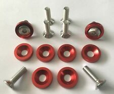 (rouge) 16 pc engine dress up kit en aluminium anodisé Rondelles & M6 Boulons * UK Stock *