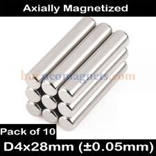 10pcs N50  4mm x 28mm Strong Rod Rare Earth Neodymium Magnets Round NdFeB Magnet