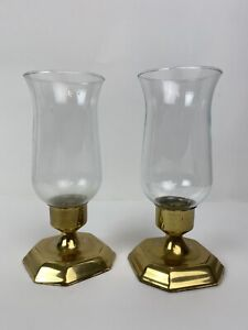 "Vtg Candle Holder Brass Base Clear Glass Hurricane Shade 4.25"" Diameter 9"" Tall"