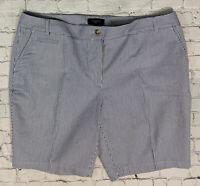 """Talbots Woman Seersucker Shorts Size 16W Blue White Striped 10"""" Inseam NEW"""