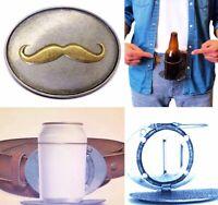 Mustache Beverage Beer Can Bottle Holder Belt Buckle Buckles